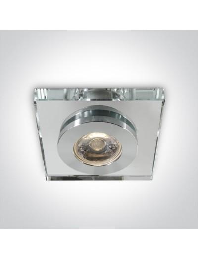 One light Луна за вграждане квадратна, GU5.3 50W, стъклен дифузер, 50105GL/AL
