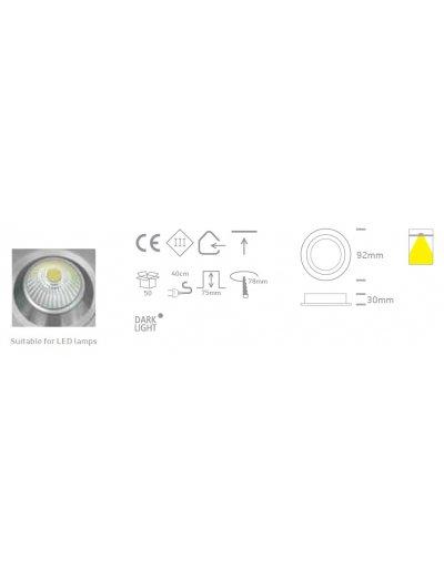 One light Луна за вграждане черна алуминий кръгла MR16 GU5.3 50W 12V IP20 10105AL/B