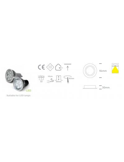 One light Луна за вграждане бяла метал кръгла MR16 GU5.3 50W 12V IP20 с насочване 11105C/W