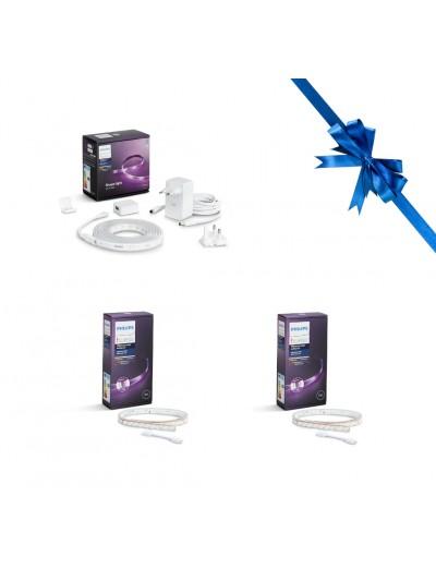 Philips Hue Промо Пакет - LED лента RGB Lightstrip Plus 2m + 2бр лента удължител HUE RGB 1m HUEPROMOPACK28