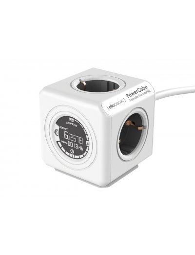 Allocacoc, Разклонител с 4 гнезда, дисплей за разход и кабел, IP 20, Бяло и сиво, A 8910
