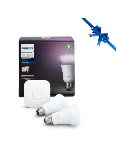Philips HUE К-кт 2 бр. LED лампи RGB E27 + конектор 8718696685754