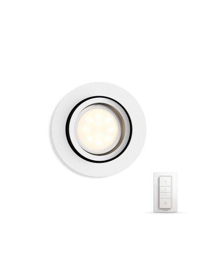 Philips HUE Луна за вгр. Milliskin с лампа GU10 WA и димер ключ 50411.31.P7