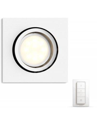 Philips HUE Луна за вгр. Milliskin с лампа GU10 WA с димер ключ 50421.31.P7