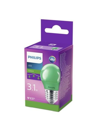 Philips LED лампа P45 E27 Зелена 871869674864000