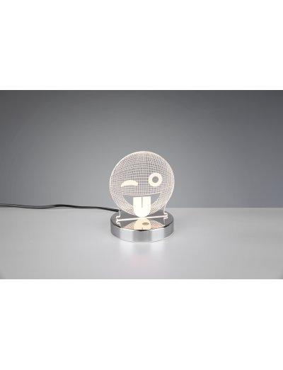 Trio, Настолна лампа, LED, 1x3W, 200Lm, Топла светлина, Smiley, IP20, Хром, R52641106